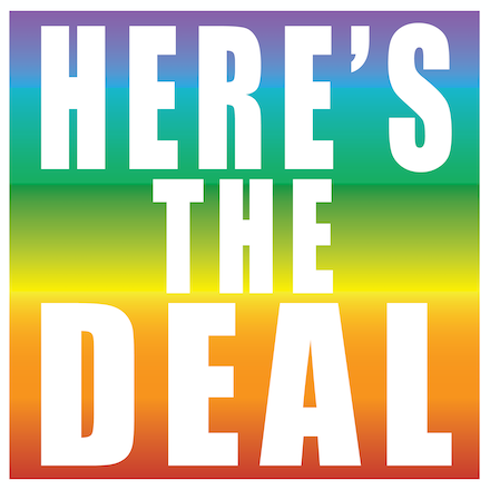 Artwork HERE'S THE DEAL by obxium depicting a rainbow gradient with the white text heres the deal